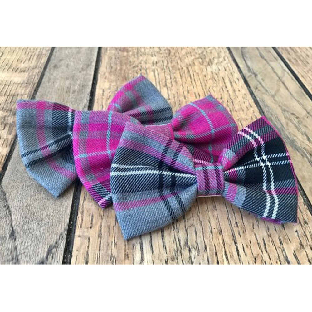 d09fa4d713bf Albies Boutique Handmade Bow Tie for Dogs in Signature Pink Grey Tartan
