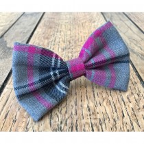 Albies Pink and Grey Tartan Bow Tie
